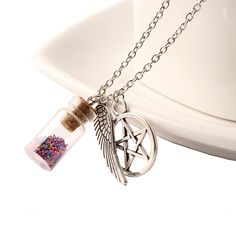 Fashion Anime Handmade Film Supernatural Pentacle Angel Wings Wishing Bottle Guardian Series Silver Jewelry Necklace N535-N540