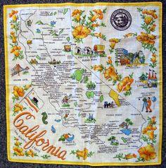 Vintage California Souvenir Map Handkerchief  by daisyfairbanks