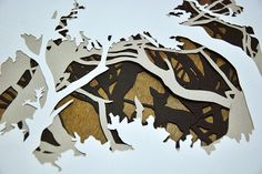 cut paper layers. it looks interesting because of the background. it can be different things from different perspective.