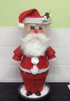 Terracotta Flower Pots, Flower Pot Crafts, Clay Pots, Elf On The Shelf, Christmas Crafts, Santa, Terra Cotta, Holiday Decor, People