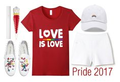 """love is love!!"" by j-n-a ❤ liked on Polyvore featuring Lacoste, Forever 21, Joshua's, Lancôme, Christian Louboutin and pride"