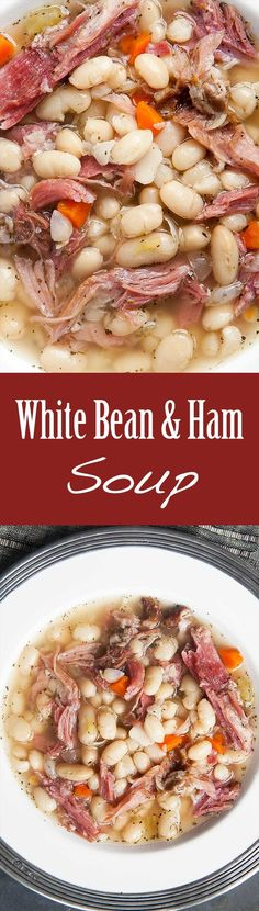 White Bean and Ham Soup Hearty white bean and ham soup. White Bean and Ham Soup Hearty white bean and ham soup perfect for cold winter days! White beans ham shanks onions celery carrots garlic Tabasco and herbs. White Bean Ham Soup, White Beans And Ham, Ham And Bean Soup, Ham Hock Soup, Ham Hocks And Beans, Navy Bean Soup, White Bean Chicken Chili, White Bean Chili, Soup Beans
