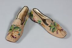 Men's slippers, ca 1860  Click to go to the absentee bidding page. This Kerry Taylor auction will end October 16th at 2:00 PM GMT (9:00 AM EST). You will need to register to bid ahead of time.