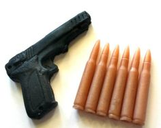 Gun and Bullets Soap Set - You Choose Color and Scent - Gift for Man - Dad - Party Favors, Guy Soap, Gift for Man