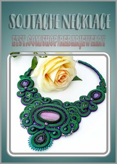 One of a kind soutache necklace, green purple big bib necklace Etsy Jewelry, Beaded Jewelry, Handmade Jewelry, Jewellery, Purple Braids, Anniversary Gifts For Wife, Soutache Necklace, Purple Agate, Green And Purple