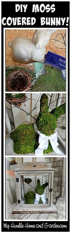 Easy DIY Moss Covered Easter Bunny Decoration!'   This DIY moss covered bunny project was an idea I saw on