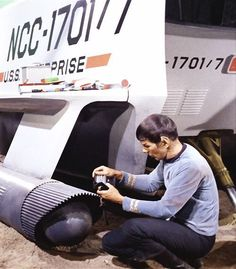 Mr. Spock with the Galileo shuttlecraft.