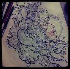 lady - lion - skeleton tattoo design