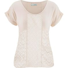 maurices Tee With Lace And Crochet ($12) ❤ liked on Polyvore featuring tops, t-shirts, beige, beige t shirt, pink t shirt, pink tee, layering tees and crochet top