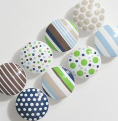 Easy find- for painted navy dresser Hand Painted Dresser Drawer Knobs Boy's Blue Green by LeilasLoft, $60.00