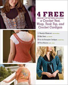 4 Free Crochet Top Patterns including a Crochet Vest, Wrap, Tank Top, and Crochet Cardigan - Media - Crochet Me