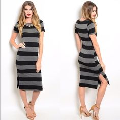 🍁Sale! Comfy Chic Striped Midi Dress On sale from $22! The perfect combo of comfy, chic and sexy.  This can be worn so many different ways. Look pulled together in an instant with this chic dress. 95% Rayon, 5% Spandex.  ✔️If you'd like to MAKE AN OFFER please do so through the offer button ONLY. I won't negotiate prices in the comments.  ✔️All items $15 and under are firm unless BUNDLED.  ❌No trades, PayPal, Holds 📷Instagram: @lovelionessie Boutique Dresses Midi