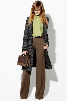Elie Saab Resort 2013 / Business Attire /  Green + Brown + Grey