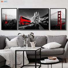 """""""Modern City Series Canvas Painting Golden Gate Bridge Prints Wall Art San Francisco Black and White Poster Office Decor"""" Rooms Home Decor, Home Decor Wall Art, Living Room Decor, Art Decor, Decoration, West Elm, Grey And Red Living Room, Canvas Home, Wall Canvas"""