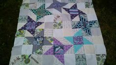 Pinwheel star quilt using tula pink fabric, mini scrappy quilt, modern patchwork