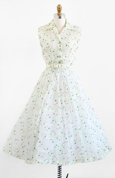 vintage 1950s polkadot dress / 50s dress / Sheer by RococoVintage