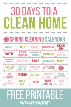 spring cleaning checklist 30 Day Spring Cleaning Calendar -You are 30 days away from a fresh, clean home! Use this free 30 Day Spring Cleaning Calendar printable to breakdown a big job into small, manageable tasks. Spring Cleaning Checklist, Deep Cleaning Tips, House Cleaning Tips, Cleaning Solutions, Cleaning Hacks, Organizing Tips, Diy Hacks, Deep Cleaning Schedule, Cleaning Challenge