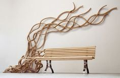 What starts with an underlying functional form in the work of artist Pablo Reinoso often gets carried away as his furniture pieces begin to take on lives of their own. The crawling tendrils and stretched figures that emerge are rendered all the more exotic by his defiant use of hard wood with soft organic forms.