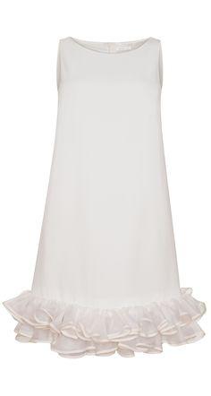 Robe trapèze en crêpe envers satin et organza