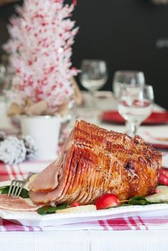 This delicious Aloha Ham recipe is topped with a tropical pineapple-ginger glaze, inspired by the best flavors of the islands. As it bakes, the glaze is caramelized to gorgeous perfection, making this ham a beautiful centerpiece to your holiday table. Holiday Ham, Holiday Dinner, Holiday Recipes, Christmas Recipes, Christmas Eve, Holiday Foods, Thanksgiving Recipes, Ham Recipes, Dinner Recipes