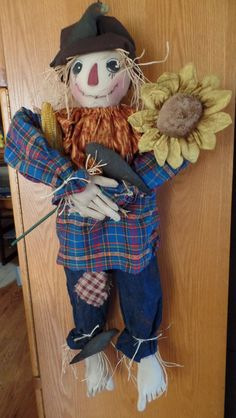 Lenny the Scarecrow by KraftyKarensKreation on Etsy Make And Sell, 4th Of July Wreath, Crow, Primitive, Teddy Bear, Decorating, Dolls, Unique Jewelry, Handmade Gifts