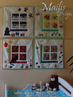 Patchwork quilt applique baby quilt by QuiltsByMailisDesign, €95.00 Another set of gorgeous wall hangings... entered into the August Shop Hop