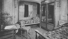 A First Class stateroom on the steamship Paris, flagship of the Compagnie Générale Transatlantique/The French Line. 1916. From the private collection of John Cunard-Shutter.