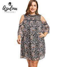 717bb529decb3 AZULINA Plus Size Floral Print Cold Shoulder Half Sleeve Dress Women  Dresses Vestidos Summer Casual Beach