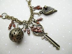 Steampunk Key Necklace, Crystals and Charms by LittleBitsOFaith, $30.00
