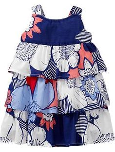 Pretty pattern and a wider strap! Tiered Floral Ruffle Dresses for Baby | Old Navy