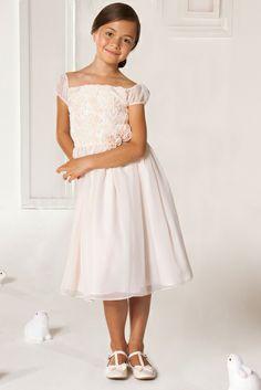 Robe de c r monie fille satin de coton doubl blanc for Robes de mariage double baie