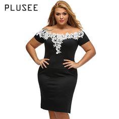 Plusee Plus Size Pencil Dress Women Summer Black Patchwork Floral Backless Red Slash Neck Blue Green Party Sexy Plus Size Dress #Affiliate