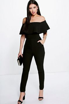 Boutique Taylor Frill Off The Shoulder Jumpsuit - Jumpsuits - Street Style, Fashion Looks And Outfit Ideas For Spring And Summer 2017 Prom Jumpsuit, Formal Jumpsuit, Jumpsuit Outfit, White Jumpsuit, Cocktail Jumpsuit, Disco Jumpsuit, Jumpsuit Style, Ruffle Jumpsuit, Strapless Jumpsuit
