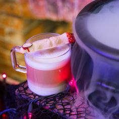 Double double toil & trouble. #fireburn #cauldronbubble #Halloween #dolcegusto  For the cookie - make your favorite sugar cookie into a witch finger, add jelly and an almond!