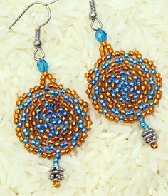Peyote stitch Blue and gold seed bead woven by Cabinfeverclay
