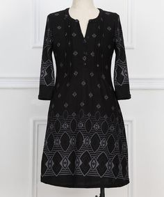 Isn't it pretty, I think it would look good on me. Black & White Geometric Notch Neck Dress - Plus #zulily #zulilyfinds