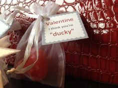 Materials: Mini rubber bath ducks Organza x treat bags Gartner Favour Tag 1 square Directions: Place the mini valentine duck in the organza bag. Design your favour tag and print. Tie the. Bag Design, Treat Bags, Organza Bags, Favor Tags, Ducks, Valentines Day, Favors, Treats, Bath