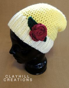 Crochet Princess Belle Inspired Slouchy Hat  by ClayhillCreations