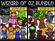 This 32-image set is full of images from the Wizard of Oz story! Included are 18 vibrant, colored images and 14 black and white versions.$