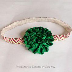Christmas chevron elastic headband with green satin flower on Etsy, $5.50