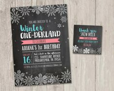 ► DIY printable Winter One-derland Faux Chalkboard invitations with FREE matching thank you tags!  { Winter One-derland } Perfect for a