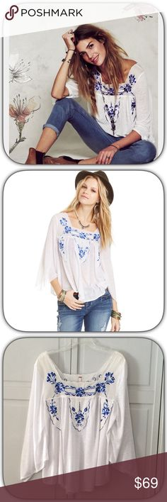 NWOT Free People White Embroidered Peasant Top What a beautiful top this is! I bought it and it did not fit me and I never returned it! It has bell sleeves and flows beautifully! It has never been Worn! Bust 20 Length 26 Free People Tops Blouses