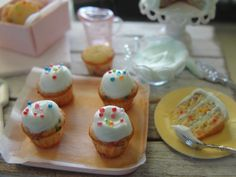 Dollhouse miniature confetti cake, cookies and cupcakes with blue frosting by Kimsminibakery on Etsy