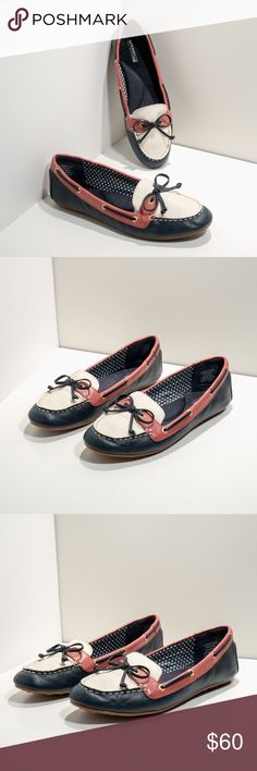 Sperry Top-siders women boat shoes Excellent condition, gently worn with minimal signs of wear.  Size: 9.5 M Color: Navy Blue/ White/ Red Sperry Shoes Flats & Loafers