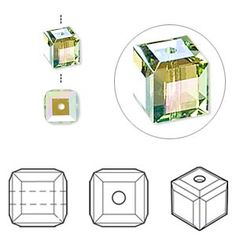 Bead, Swarovski crystal, peridot AB, 6x6mm faceted cube (5601). Sold per pkg of 6.