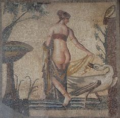 https://flic.kr/p/AcpuQd | Mosaic depicting Leda and the Swan, once the central panel (emblema) of a mosaic floor discovered in the vicinity of the Sanctuary of Aphrodite at Palaipafos, late 2nd - early 3rd century AD, Palaepaphos Museum, Cyprus