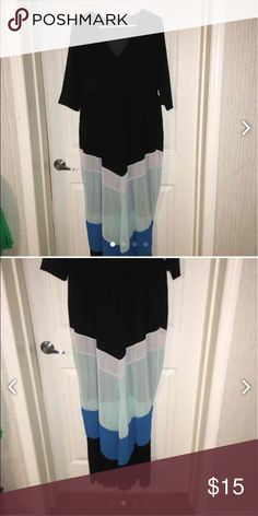 Long Chevron Dress Sheer at bottom, reposh, didn't fit, can't find a tag, was sold to me as 1x but fits like XL, long dress Dresses Maxi