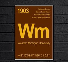 College Elements Wall Art Prints - Western Michigan University by CollegeElements on Etsy https://www.etsy.com/listing/225312038/college-elements-wall-art-prints-western