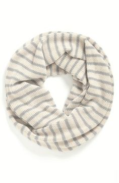 BP. 'Gift Box' Stripe Infinity Scarf (Juniors) | Nordstrom  color:ivory/grey
