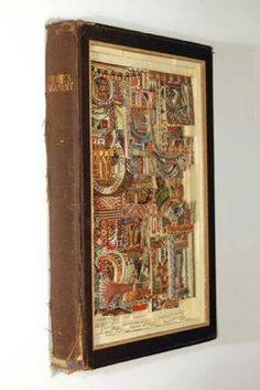 A frame made out of a book. You could put anything in here--stones, beads, photos, stickers, etc. Or frame a painting.